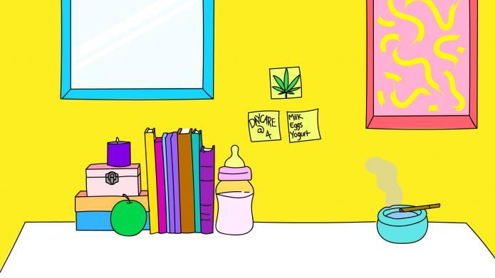 marijuana mom desk