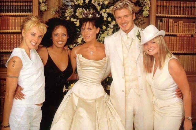 Victoria Beckham on her wedding day with other Spice Girls and David Beckham