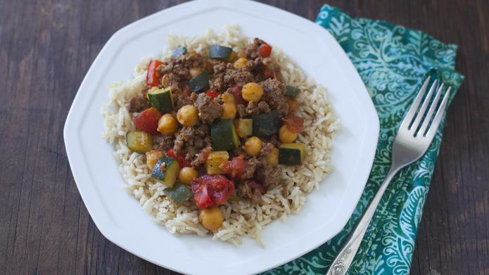 One-dish chickpea beef skillet supper