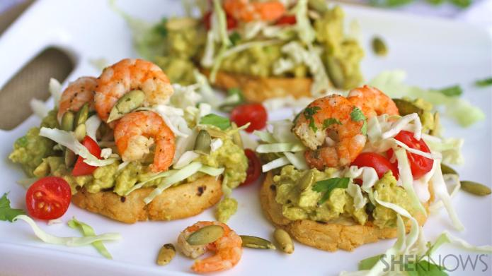 Gluten-free cilantro-lime shrimp sopes are like