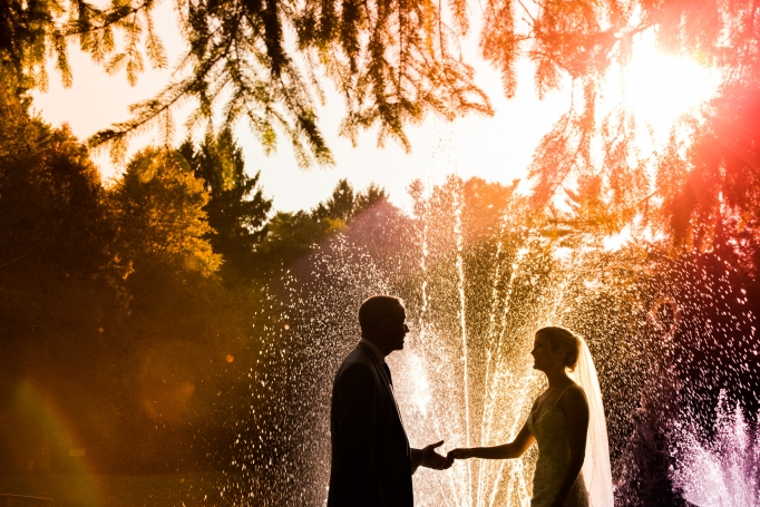 Colorful wedding photo with water