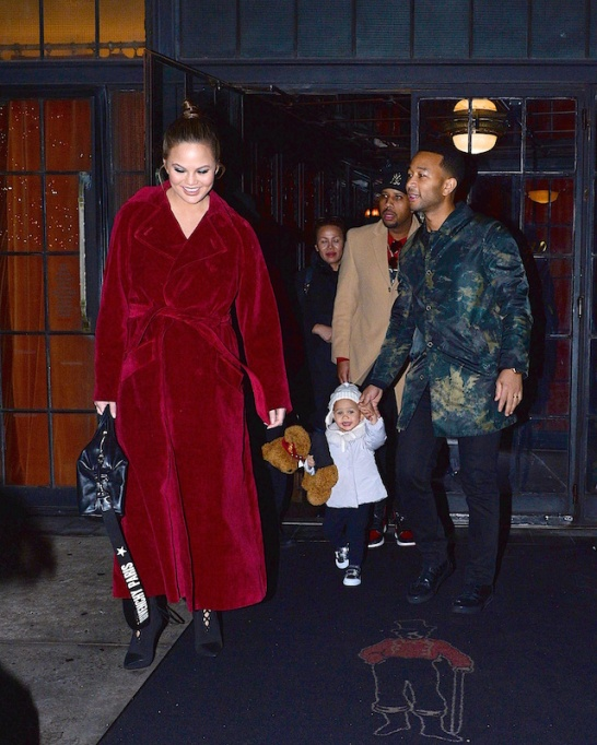 Chrissy Teigen with her family in New York City in December 2017