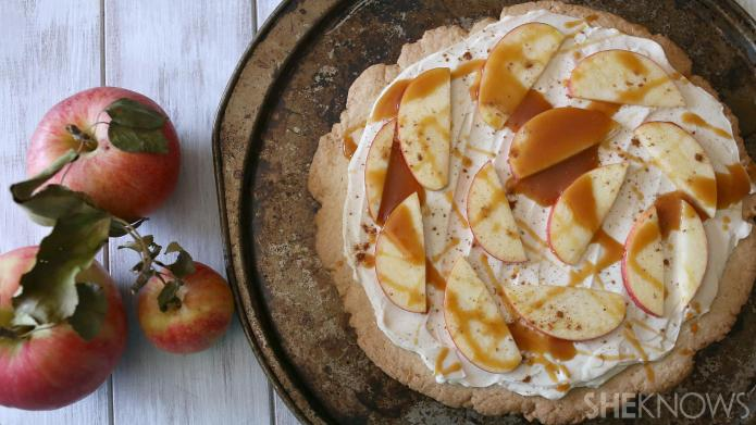Caramel apple cheesecake pizza is your