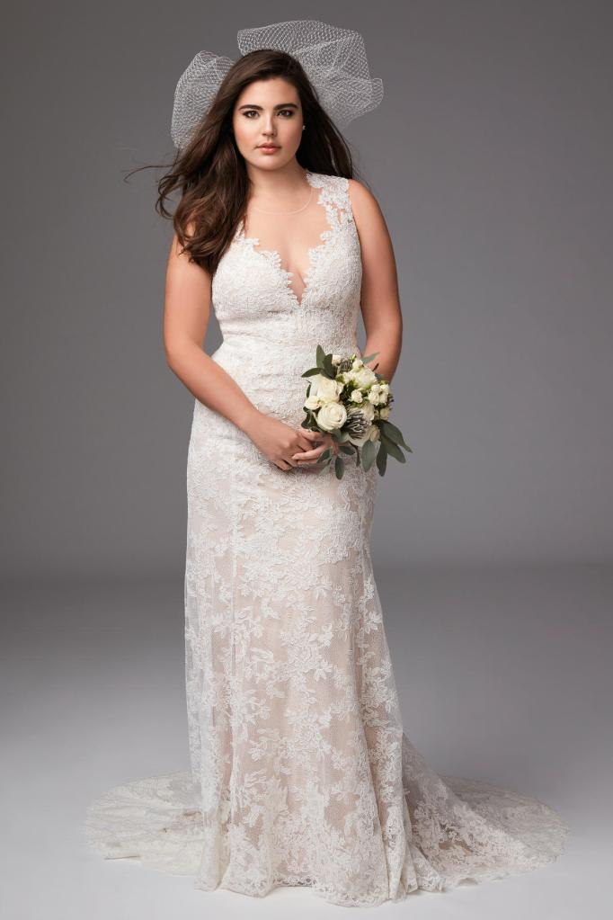 Deep V-Neck with Pearl Button Up Back Wedding Dress
