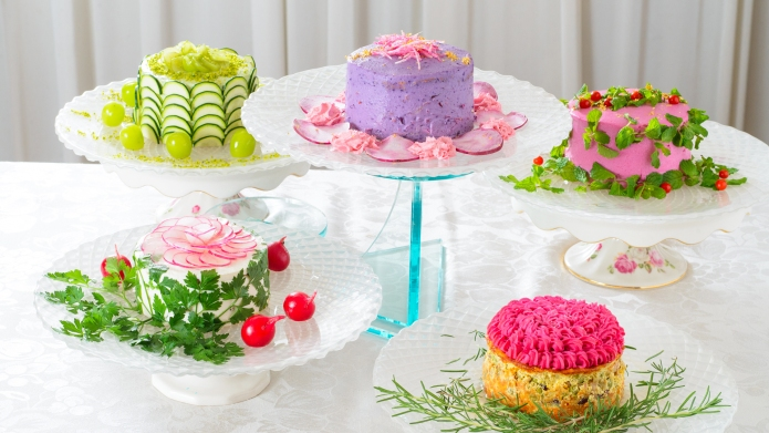 These gorgeous 'cakes' are actually salads,