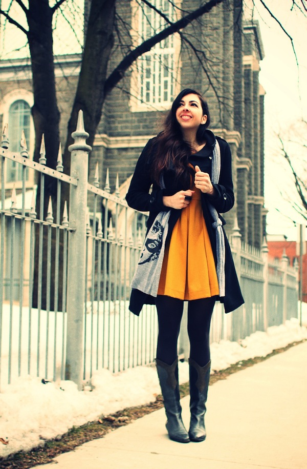 Yellow dress black tights