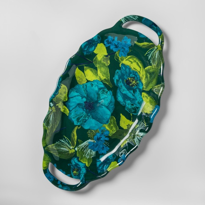 Floral Oval Melamine Serving Tray with Handles