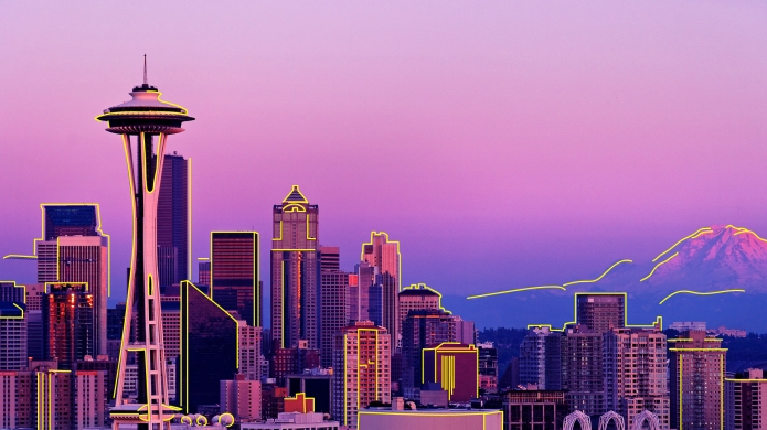 Seattle Skyline With Mount Rainier in
