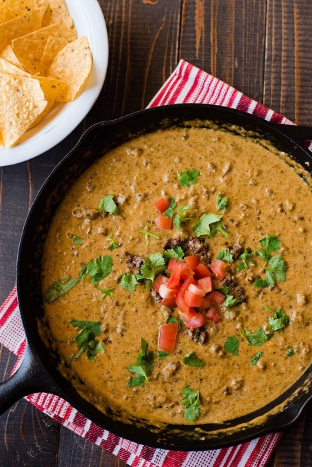 Best Super Bowl Snacks: Queso Dip with Ground Beef