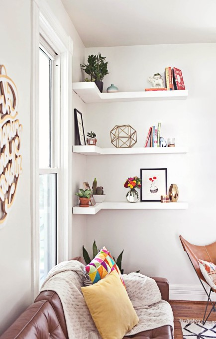 How to Decorate Small Spaces: Corner storage makes sure that no part of your room goes wasted.