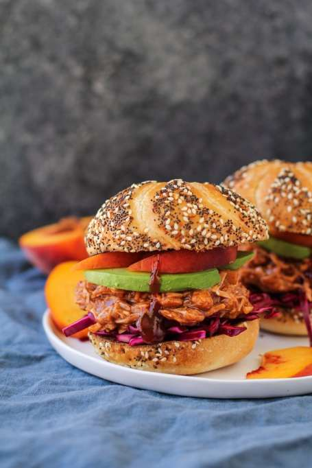Vegetarian 4th of July: Peach adds a summery sweetness to these barbecue jackfruit sandwiches.