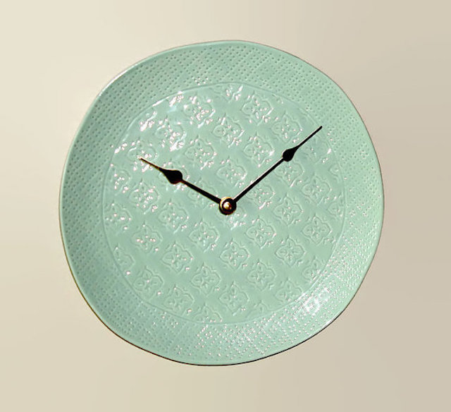 Sea foam green wall clock