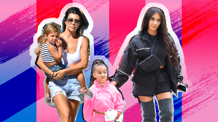 Kim and Kourtney Kardashian with Kids