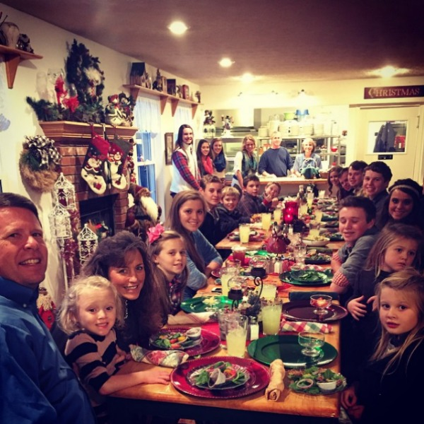 Duggar family having dinner