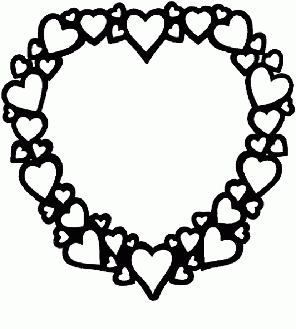 Valentine's Day Coloring Pages: Heart wreath