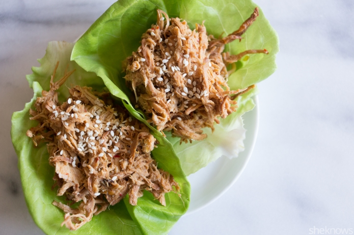 Slow cooker Asian chicken lettuce cups: