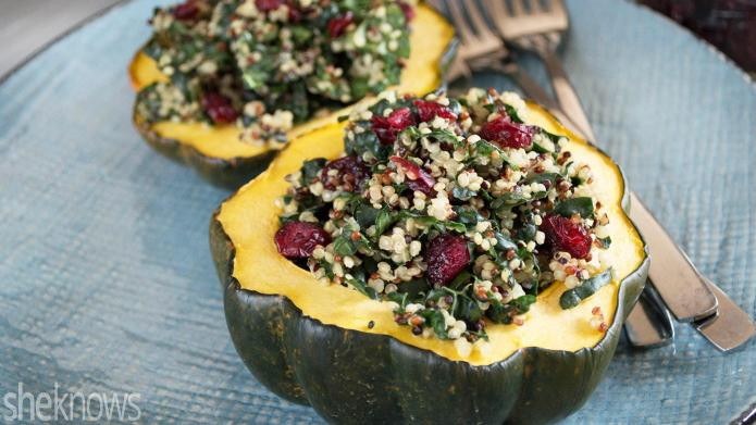 Roasted acorn squash stuffed with cranberry