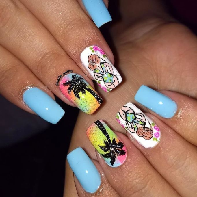 South Beach Sunset Nail Art