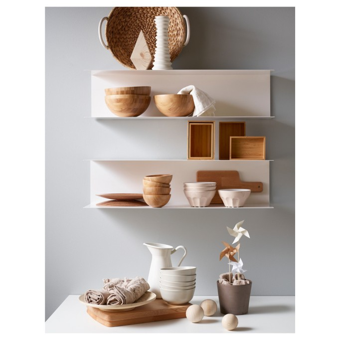 Floating shelves hanging on a wall