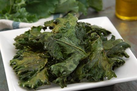 Kale chips baked with Parmesan cheese