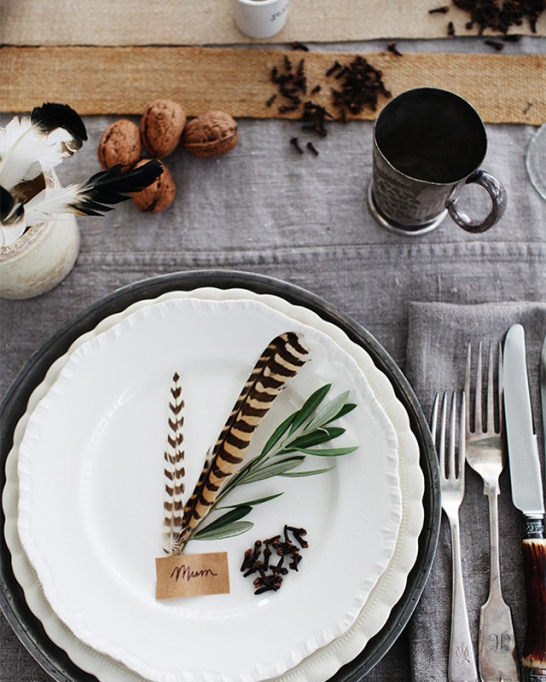18 Homemade Thanksgiving Table Ideas That Even the DIY-Challenged Can Manage: Pheasant feather fall place setting