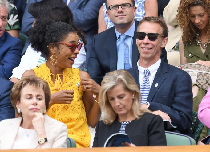 Check out these celebrities at the 2017 Wimbledon tournament: Sophie Okonedo & James Chalmers