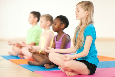 Kids doing yoga
