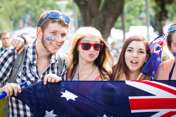 Young adults celebrating Australia Day