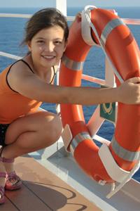 Girl on cruise ship