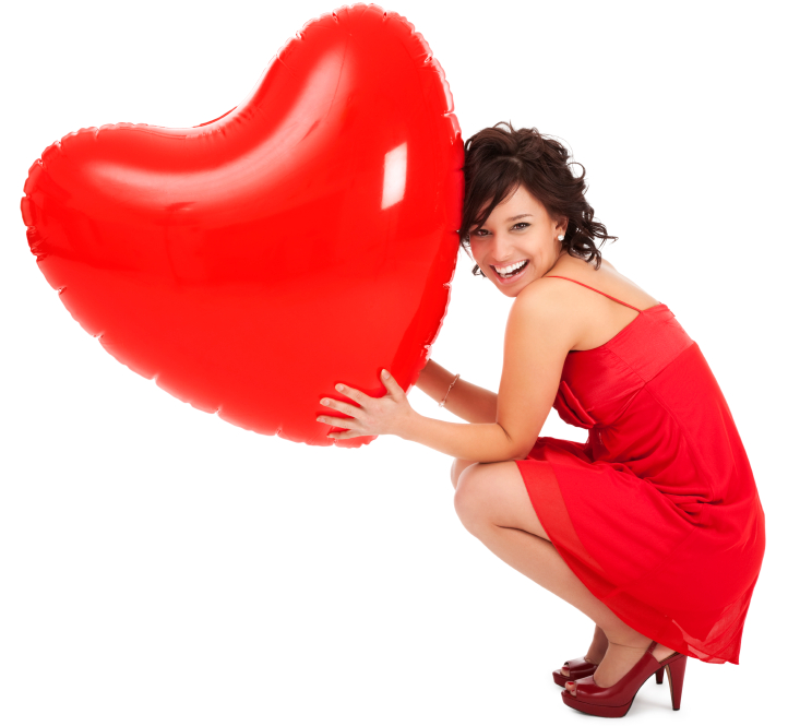 Young woman with inflatable heart | Sheknows.com