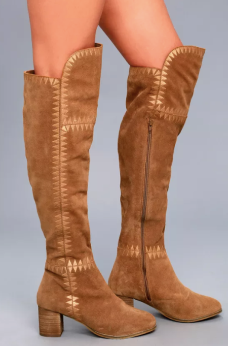 Best Pairs of Over-the-Knee Boots: Moon Tan Suede Leather Embroidered Over the Knee Boots | Fall and Winter Fashion 2017