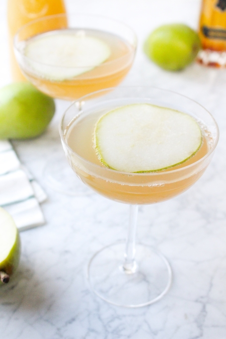 Pear and Elderflower Champagne Cocktails