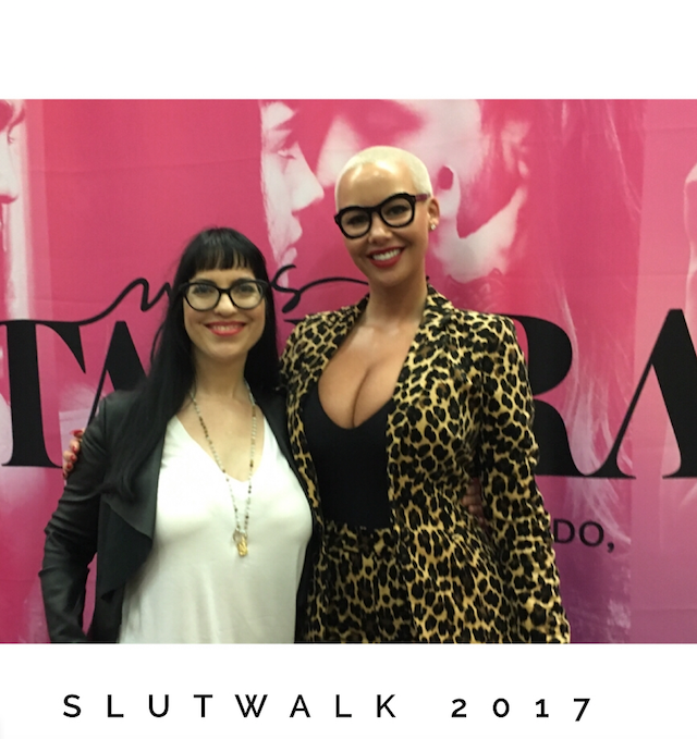 Sex educator Dominique posing with Amber Rose at the 2017 Slutwalk