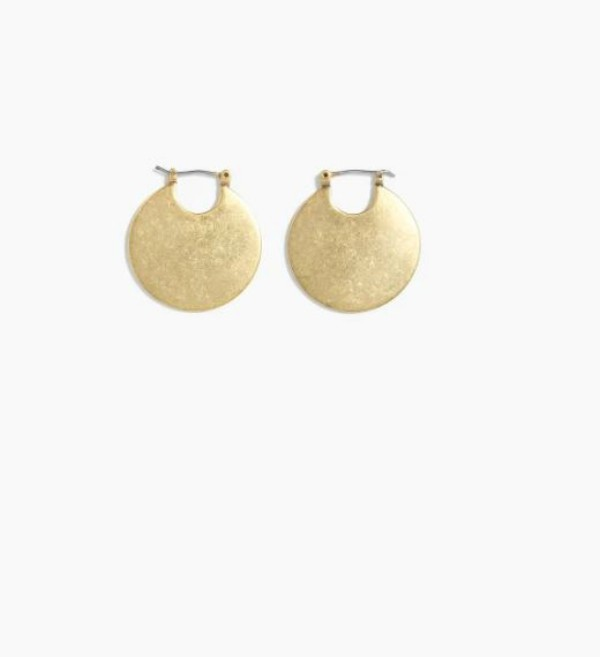 Valentine's Day Gifts For Moms: round disk earrings from J.Crew in antique gold.