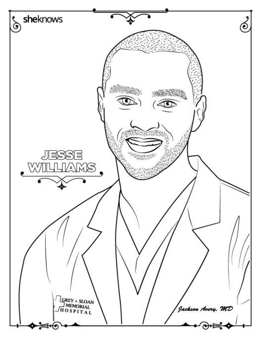 Jesse Williams coloring book page