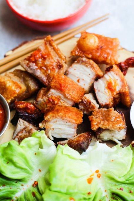 Crispy Grilled Pork Belly Wraps