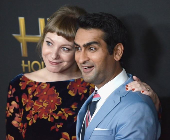 Kumail Nanjiani and Emily V. Gordon on red carpet