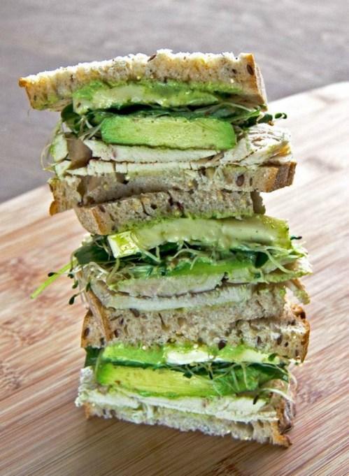 Summer sandwich recipe: green goddess dressing adds a fresh herby zing to this turkey sandwich.