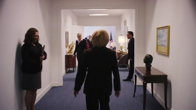 An actress playing Hillary Clinton