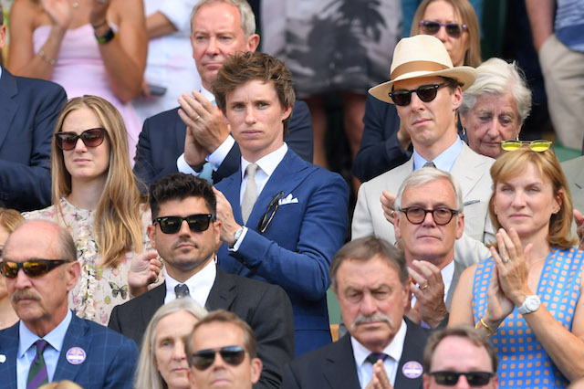 Hannah Bagshawe, Eddie Redmayne and Benedict Cumberbatch attend the men's single final on day 13 of the Wimbledon Tennis Championships