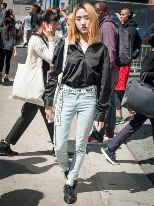 Fashion week street style black blouse and belt