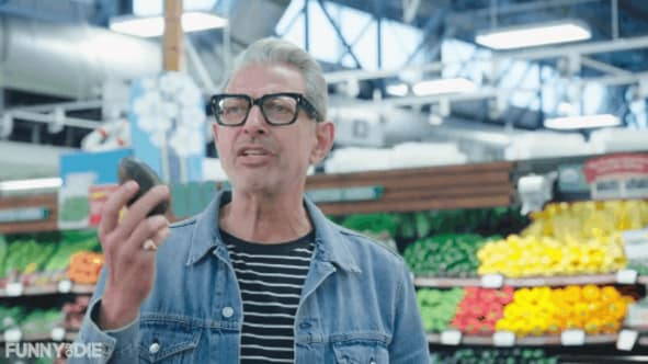 Jeff Goldblum holding avocado GIF
