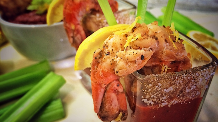 Grilled shrimp with spiked slow cooker