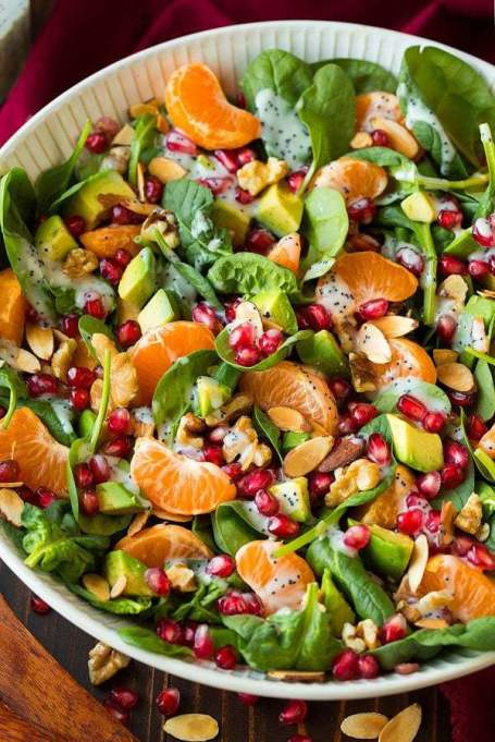 Yummy Winter Salads You'll Actually Crave   Mandarin Pomegranate Spinach Salad