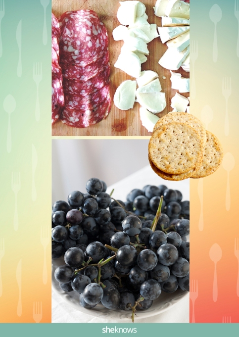 Salami, provolone, whole-grain crackers and grapes