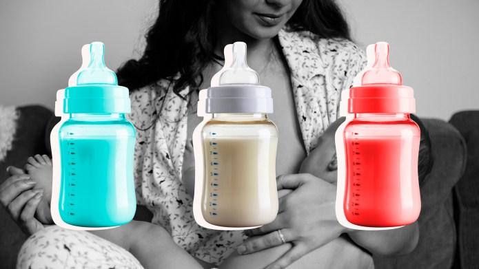 Mom Breastfeeding Newborn in Background of