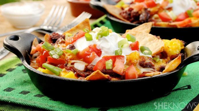 Mexican breakfast nachos — aka chilaquiles