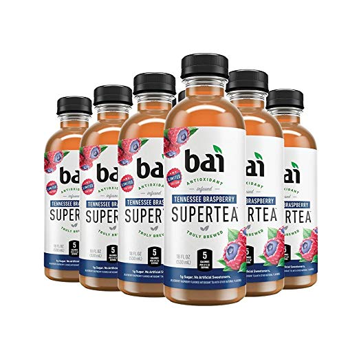 bai Supertea Tennessee Braspberry Tea, Antioxidant Infused, Crafted with Real Tea (Black Tea, White Tea), 18-oz bottles, 12 count