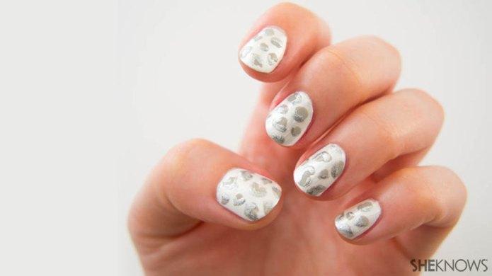 Snow leopard print nail design