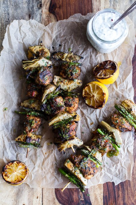 Spring veggie & lemon Moroccan chicken skewers recipe